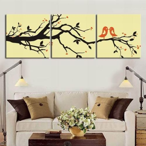 Framed Love Birds Quality Comteporary Canvas Print with Wall Clock ...
