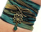 Infinity Lotus Silk Wrap Bracelet Yoga Jewelry Namaste Upper Arm Eternity Love Etsy Forever New Beginnings Stocking Stuffer Yogi Gift M7
