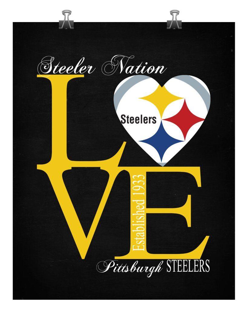 Pittsburgh Steelers Love Wall Art Perfect Gift, football