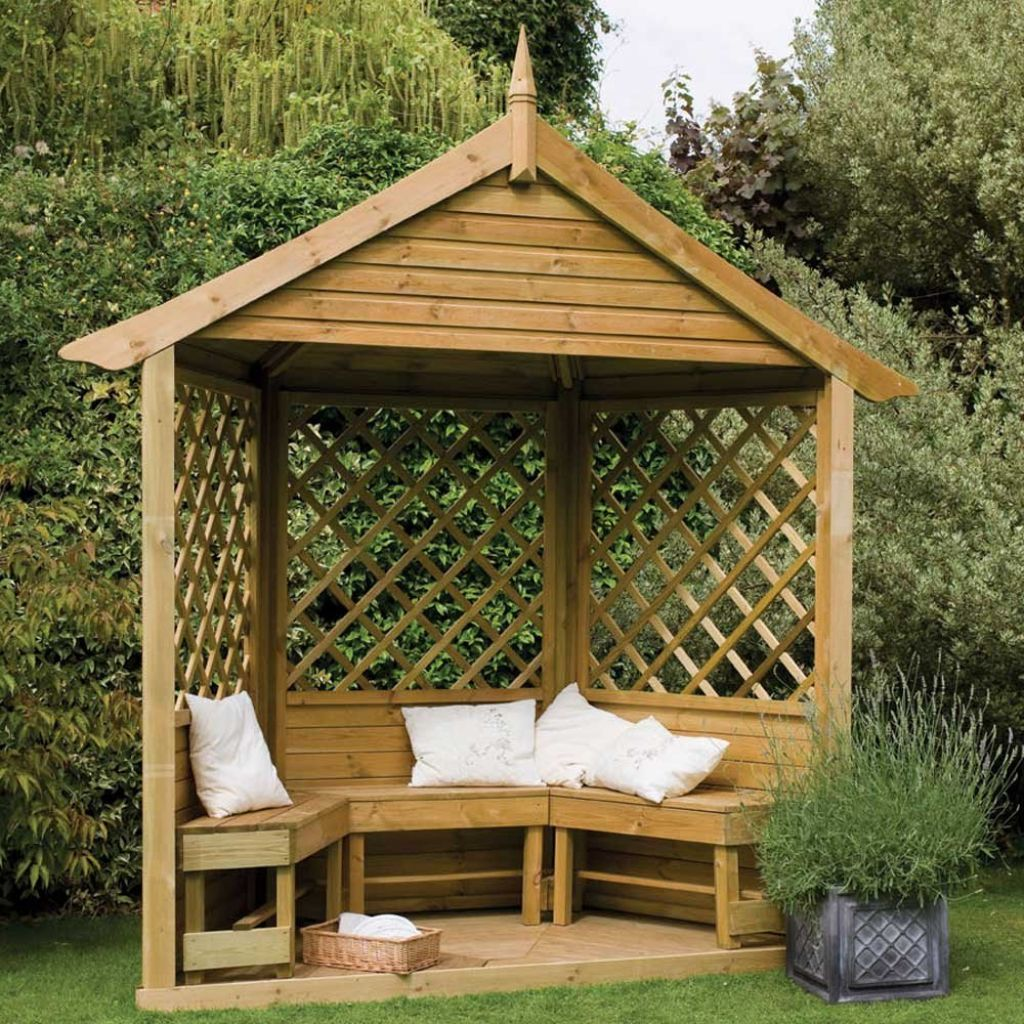 Garden Beautiful Backyard Garden Ideas With Gazebo Decoration Small Wooden Gazebo Decorating Backyard Garde Small Gazebo Backyard Gazebo Garden Arbour Seat