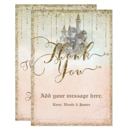 Gold Glitter Storybook Castle Wedding Thank You Engagement Party