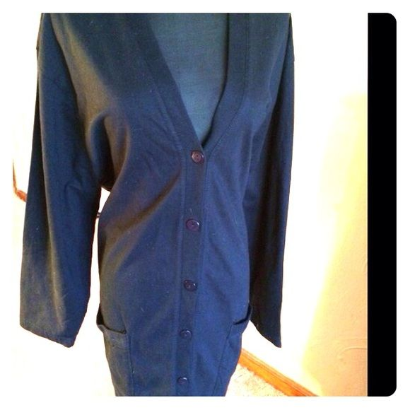 Plus Size knit Jacket Black tunic length light weigh jacket.  2 patch pockets. I never wore it. JMS Jackets & Coats