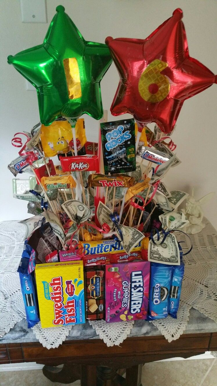 16th Birthday Bouquet Candy Cake Center Piece 16 Presents Gifts