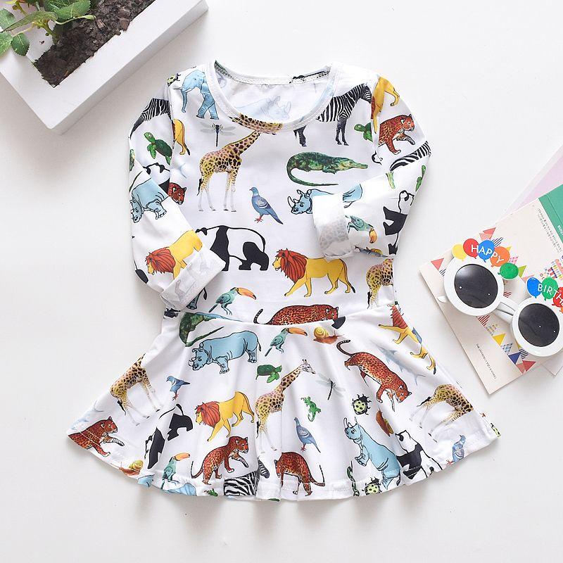Dinosaur Toddler Infant Kids Baby Girl Sleeveless Tutu Dress Sundress Summer Suspender Mini Dress Clothes 6M-3T
