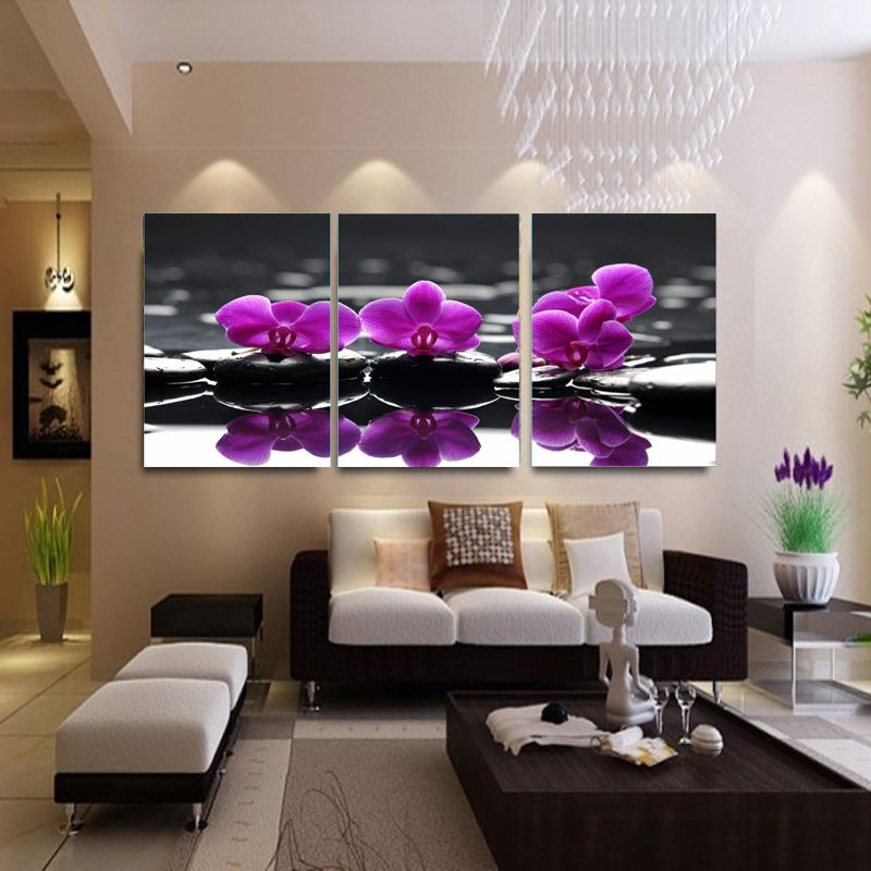 3 Piece Canvas Painting Purple Flowers Living Room Decorative Picture Modern Wall Art