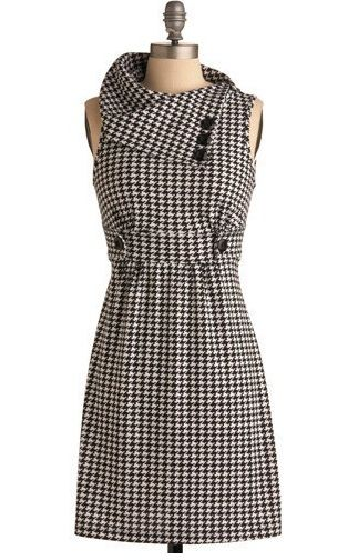 Houndstooth Cowl Neck Dress--because I want to live like it's 1956!!
