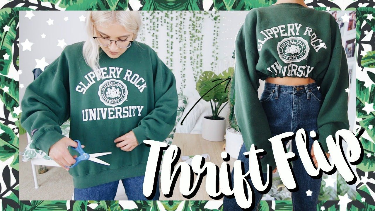 THRIFT FLIP CLOTHES NO SEW  transforming oversized clothing +