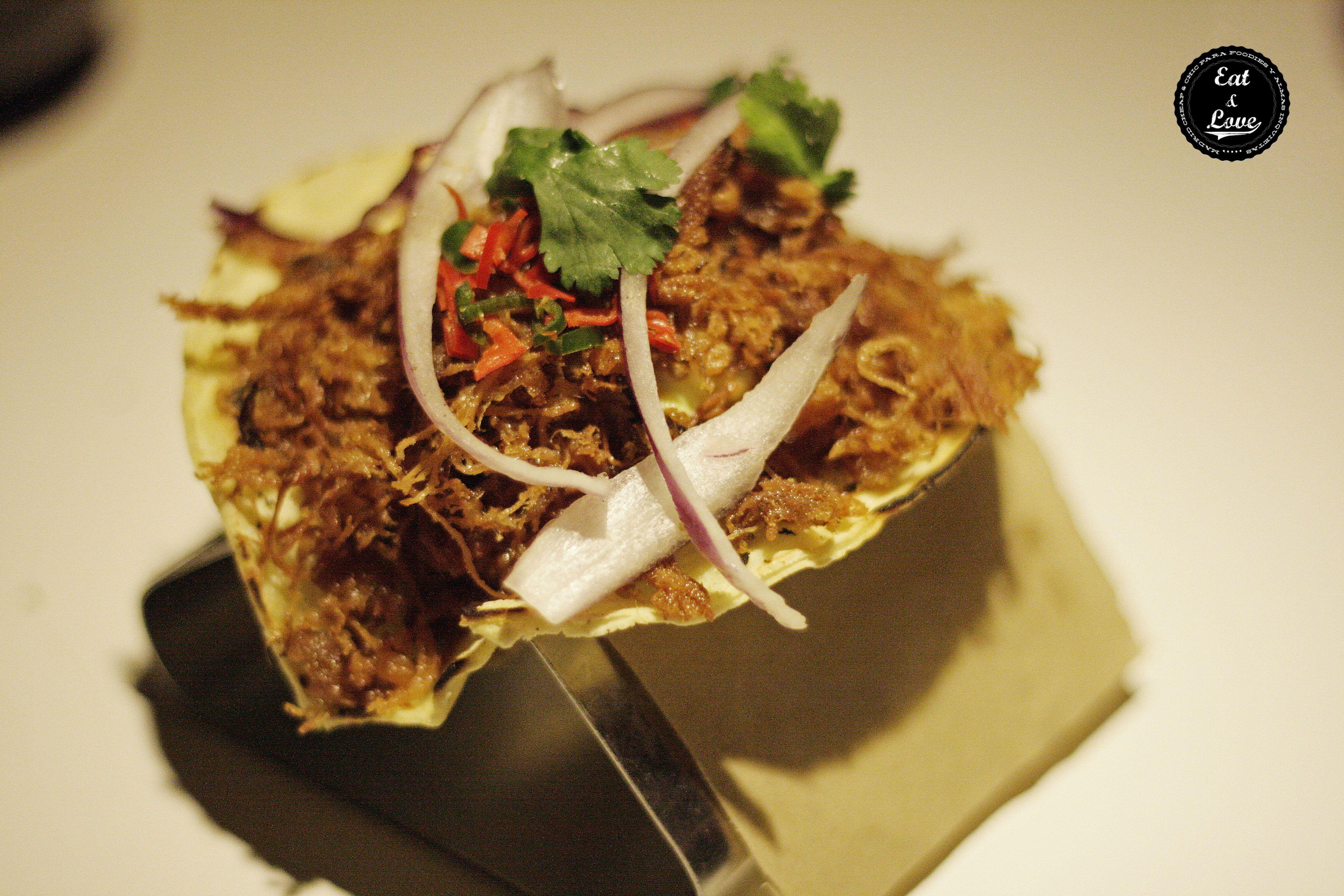 Taco-pato en La Gabinoteca, restaurante creativo tapas Madrid