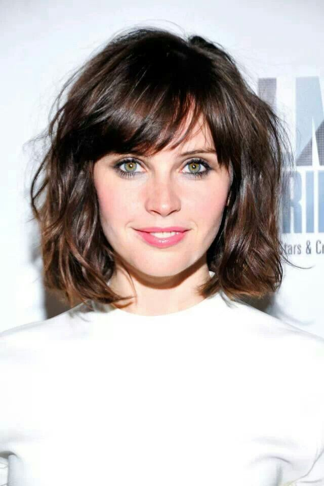 chin-length, texturized, side-swept bangs
