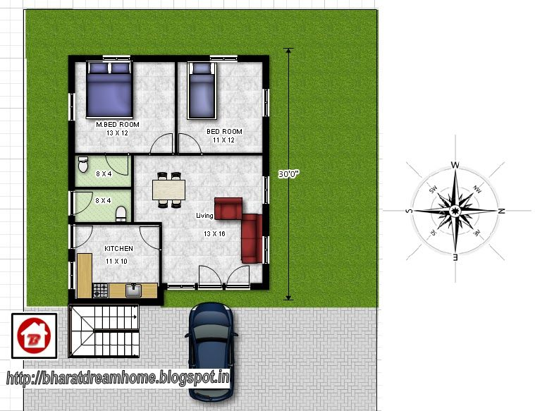 800 Sq Ft House Plans South Indian Style Bharat Dream Home 2 Bedroom