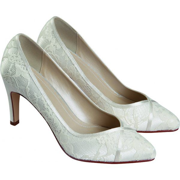 Superior Rainbow Club Melanie Ivory Lace Mid Heel Wedding Shoe