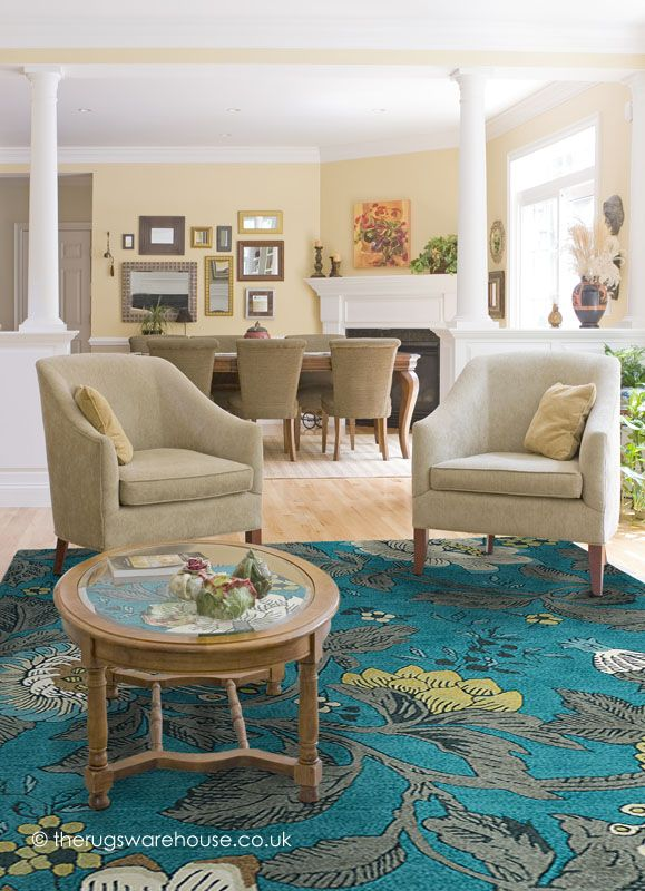 Passion Flower Teal Rug Wedgwood Rugs A Vibrant Floral Wool In Shades