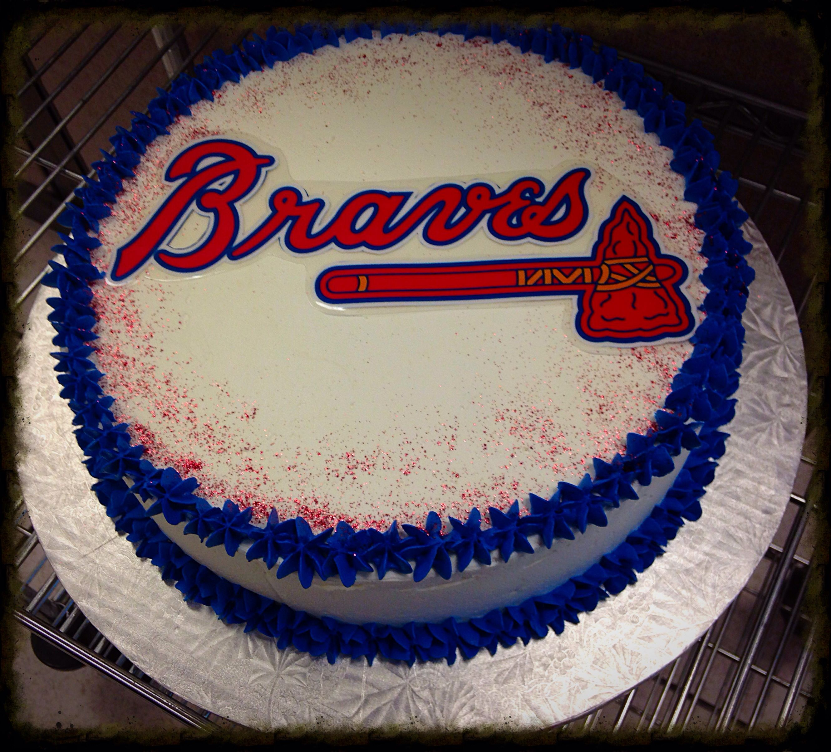 Incredible Atlanta Braves Cake Brave Birthday Cakes Baseball Birthday Funny Birthday Cards Online Sheoxdamsfinfo