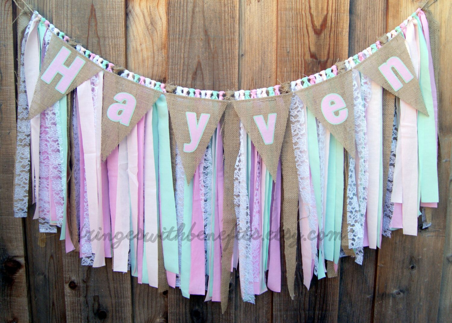 Pink Mint Lace Burlap Shabby Chic Fabric Rag Tie Garland Name