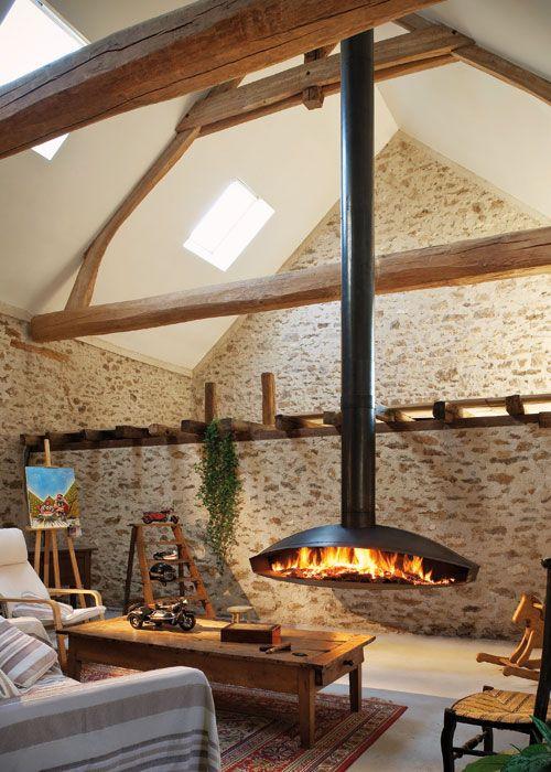 Casas de campo por dentro hanging fireplace modern - Casas de campo por dentro ...