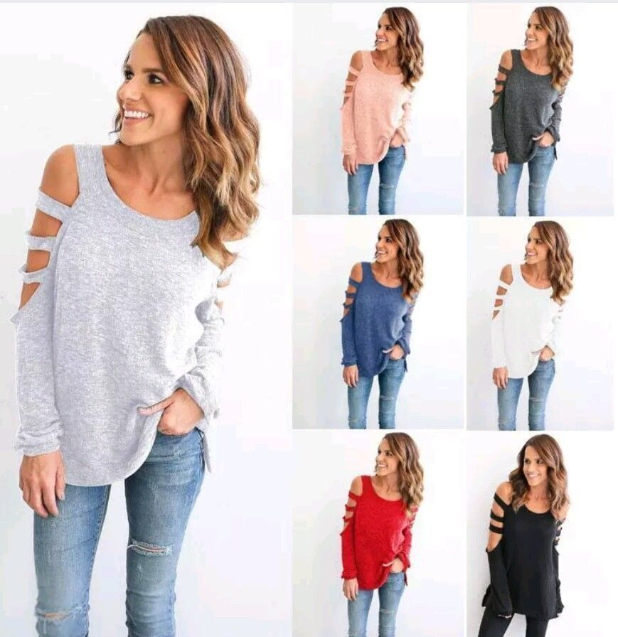 7f453ef1b67286  0.99 - Fashion Women Ladies Cut Out Long Sleeve T-Shirt Cold Shoulder  Loose Tops Lot  ebay  Fashion