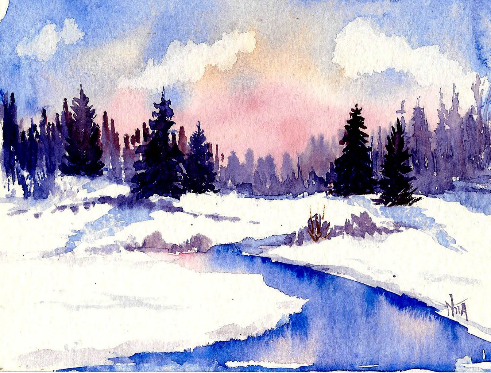 Cold Spring In Winter Watercolor 4x5 Copyrighted Nita