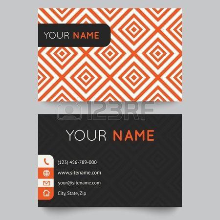 visitenkarten vorlage orange wei muster vektor editable vektor illustration f r modernes design lizenzfreie bilder - Muster Visitenkarten
