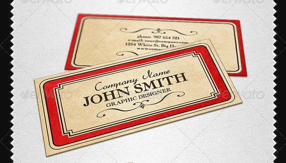 The Border Feels A Little Heavy For Me But I Like The General - Vintage business card template
