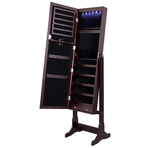 Jewelry Armoire Cabinet Full Length Mirror Freestanding LED Light