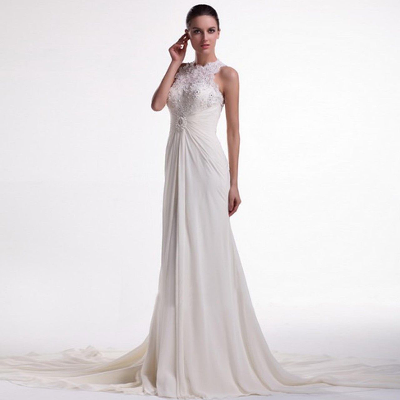 Fashionably yours zia lace halter neck wedding dresses by knightly