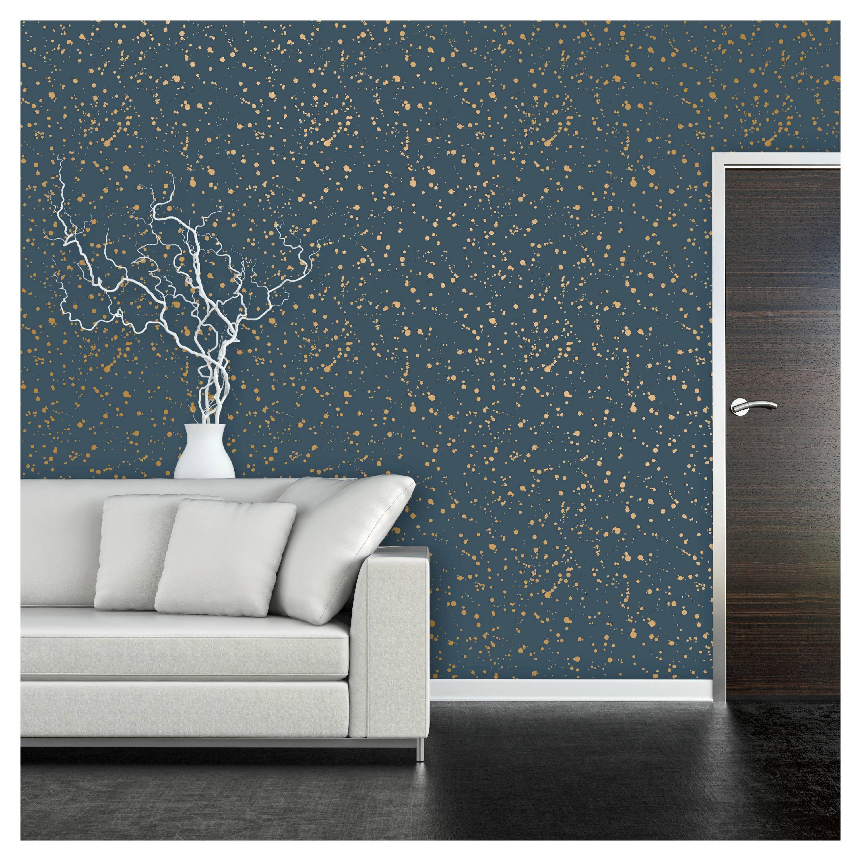 Celestial Peel & Stick Wallpaper Navy/Gold Opalhouse