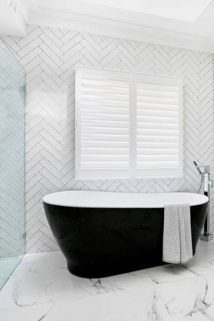 Modern bathroom décor inspiration | Dramatic black freestanding bath ...