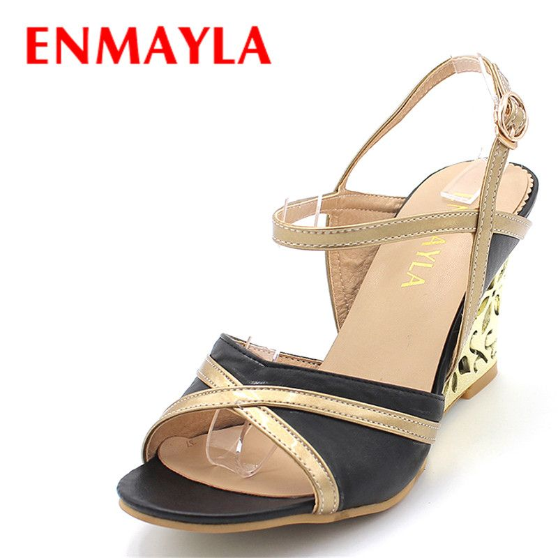 3167f8d780bb ENMAYLA New Fashion Wedges High Heels Sandals Women Ankle Strap Sandals  Sexy Open Toe Summer Dress