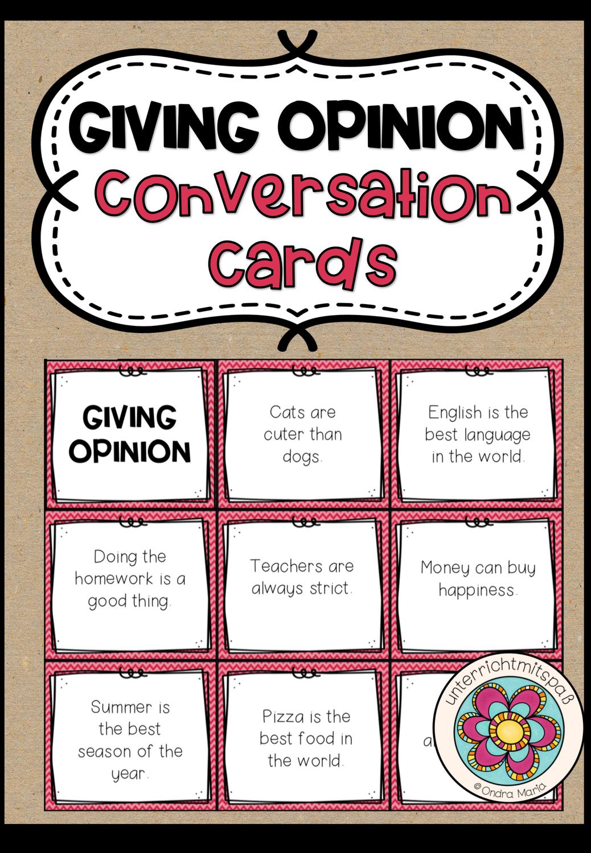 Giving Opinion Conversation Cards Unterrichtsmaterial Im Fach Englisch In 2020 Unterrichtsmaterial Spielerisches Lernen Englischunterricht