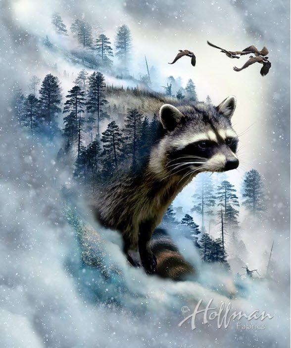 Hoffman Fabrics Call Of The Wild Raccoon Panel Call Of