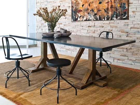 Diego Steel Dining Table Sputnik Stools By Environment Furniture