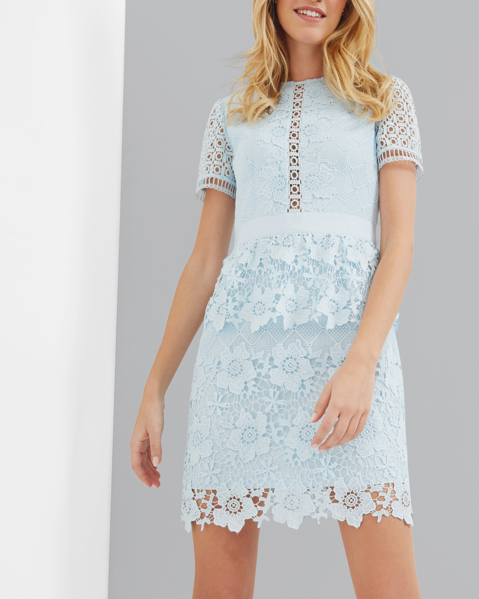 Layered Lace Dress Baby Blue Dresses Ted Baker With Images Dress Clothes For Women Lacy Dress Designer Outfits Woman