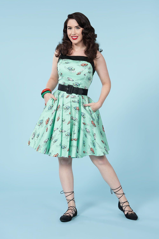 Golightly Netti Dress In Car Print Retro Style Dress Pinup Girl Clothing Retro Style Dress Retro Dress Fashion Dresses