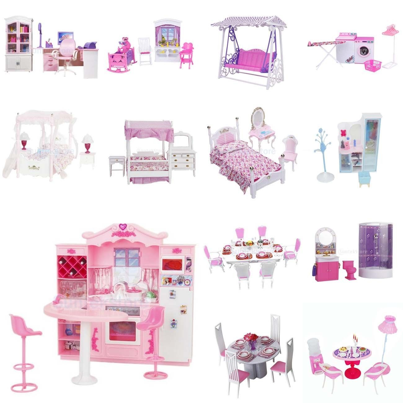 Luxury Plastic Furniture Play Set for Barbie Dolls House Kitchen ...