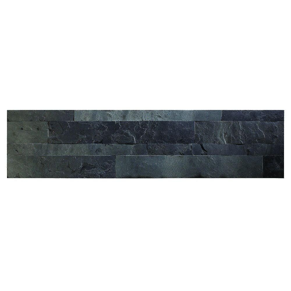 Adhesive Accent Wall Slate: Aspect 23.6 In. X 5.9 In. Charcoal Slate Peel And Stick