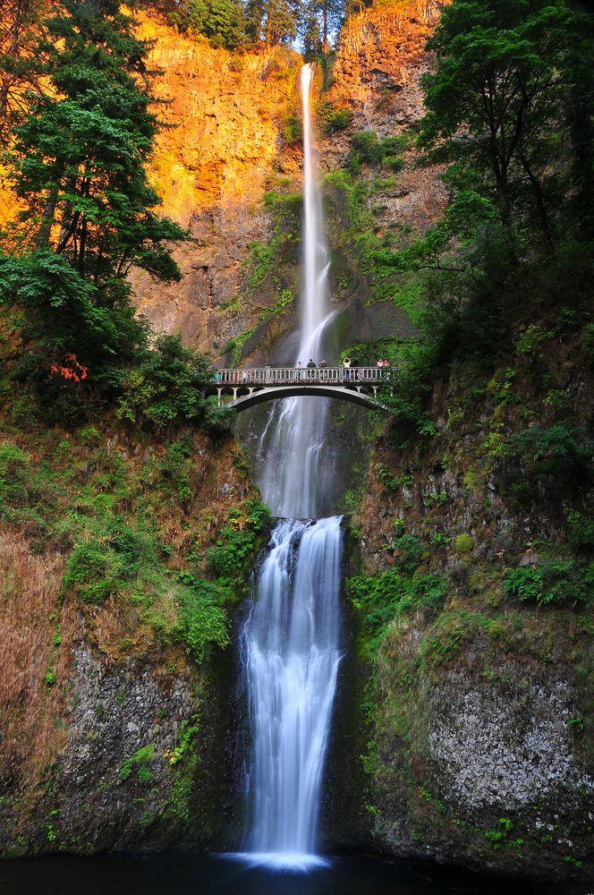 Beautiful waterfalls - Multnomah Falls in Oregon just outside of Portland