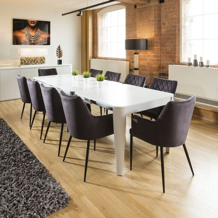 Luxury Extending Dining Set Glass Top Table 10 Grey Carver ...