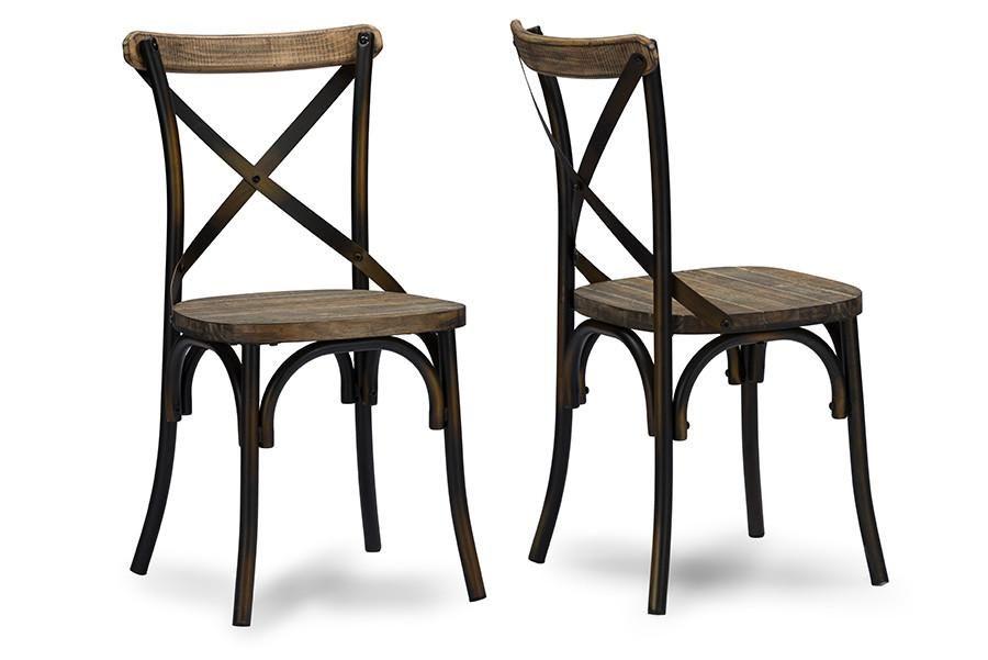 baxton studio konstanze industrial walnut wood metal dining chair rh pinterest com