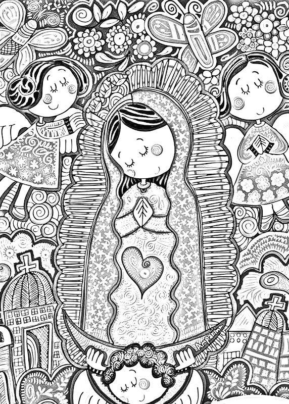Dibujos Católicos Virgencita Plis Distroller Para Colorear Pintar