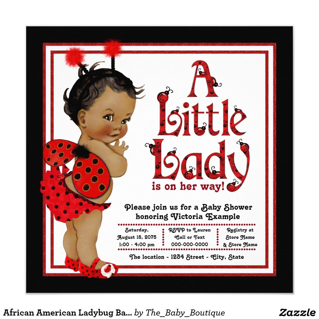 African American Ladybug Baby Shower Card | baby shower | Pinterest
