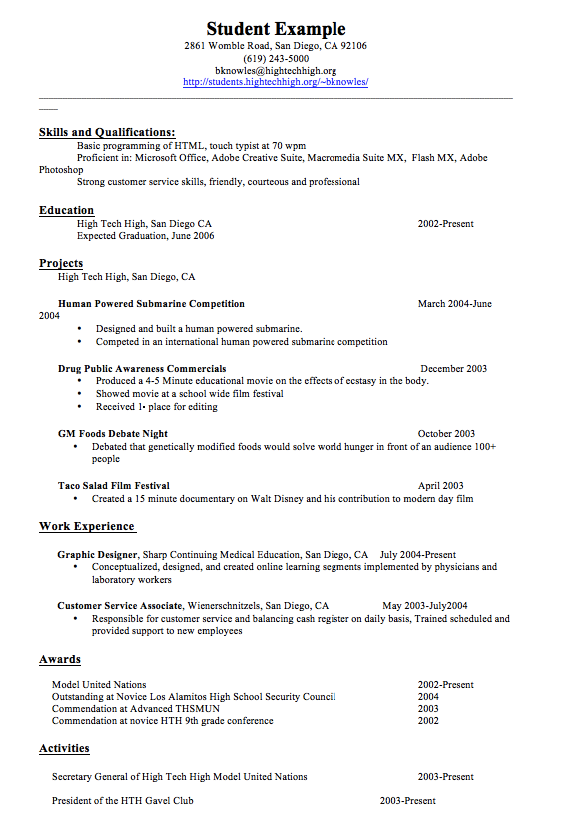 Customer Service Skills Resume Examples Student Example 2861 Womble Road San Diego Ca 92106 619