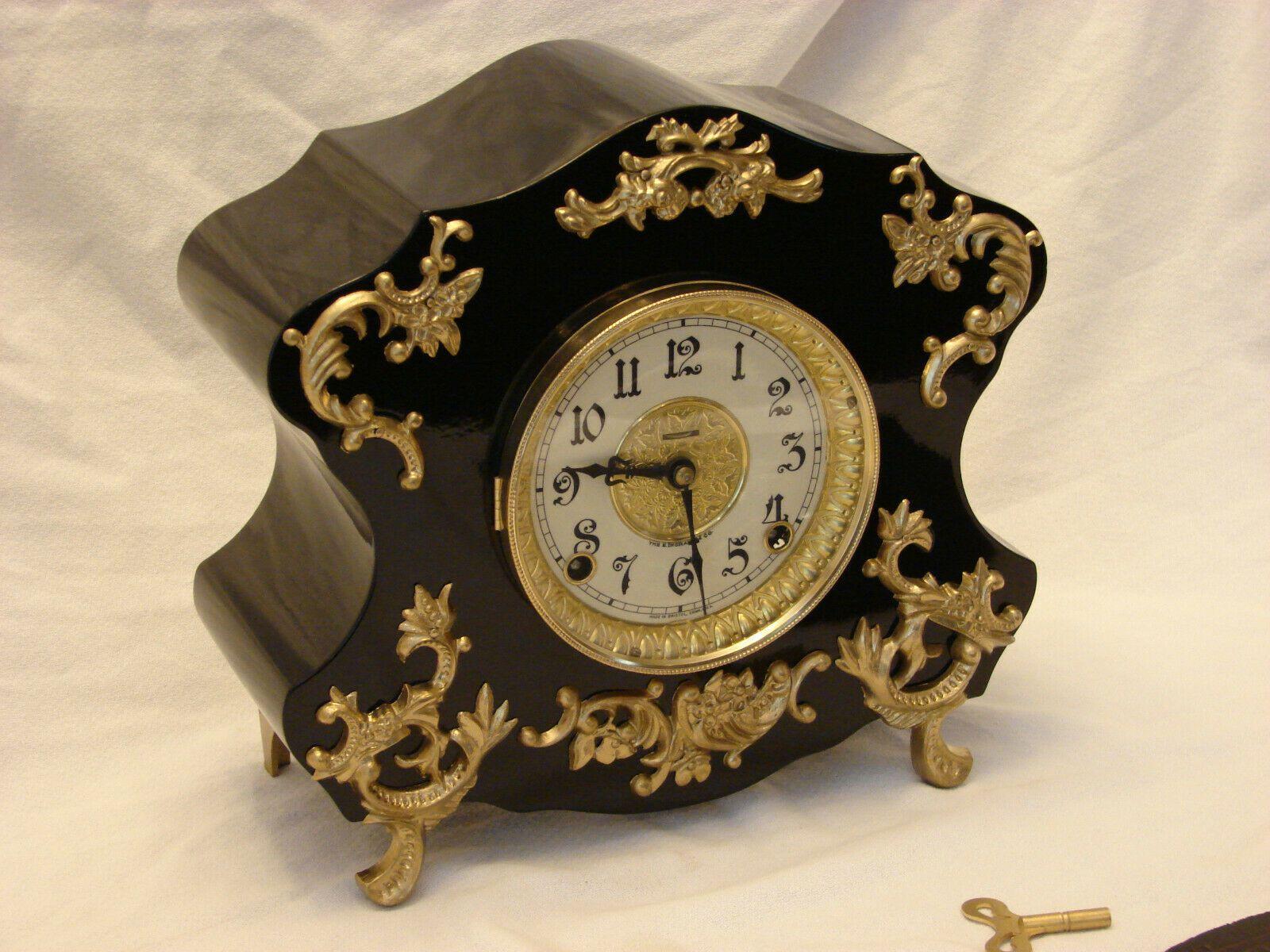 Restored Serviced Ingraham Black Mantel Clock Circa 1897 Antique Ideas Of Antique Clock Antiqueclock In 2020 Black Mantel Clocks Clock Antique Clock