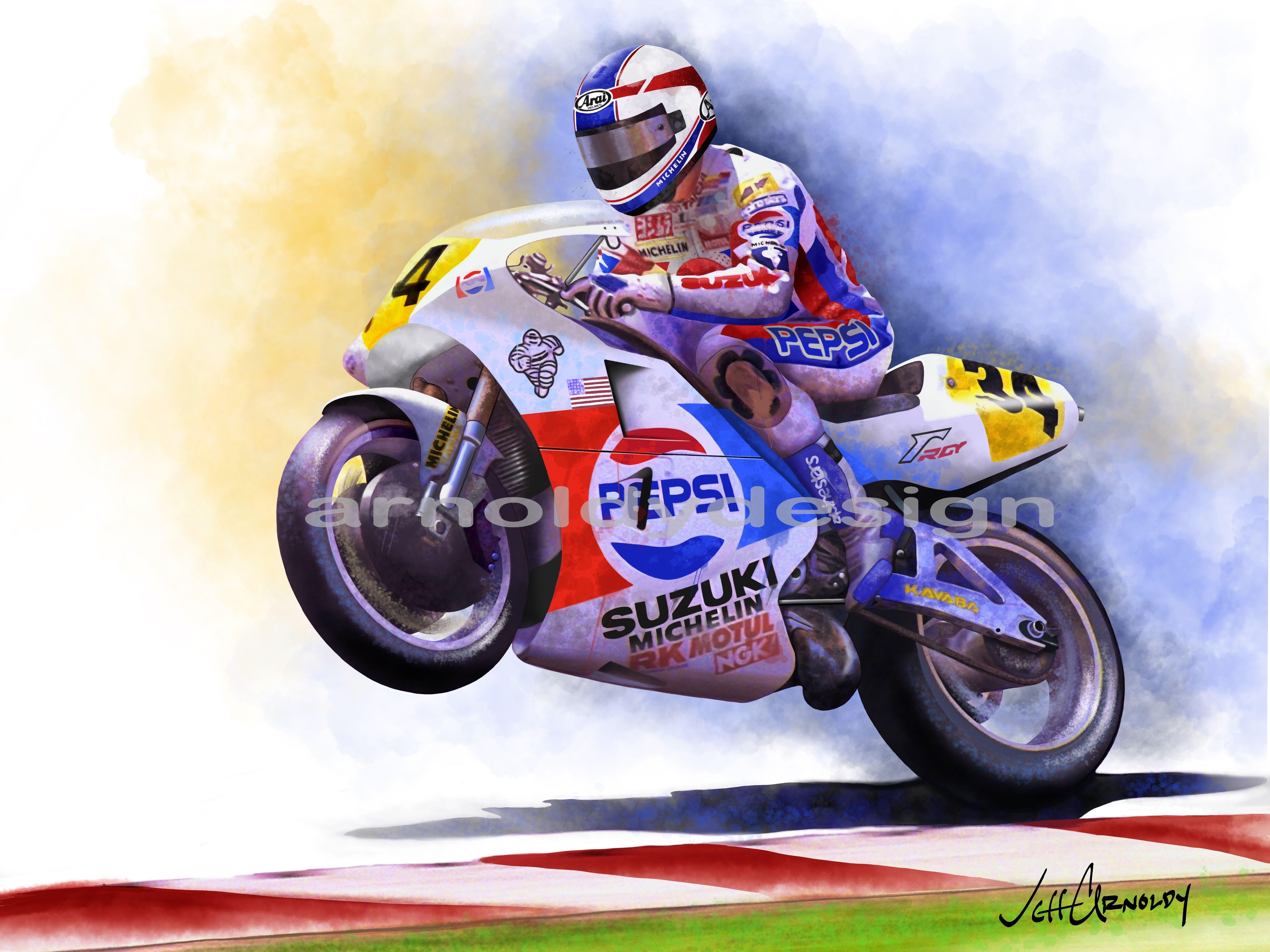 Kevin Schwantz Suzuki Motogp Digital Watercolor With Images