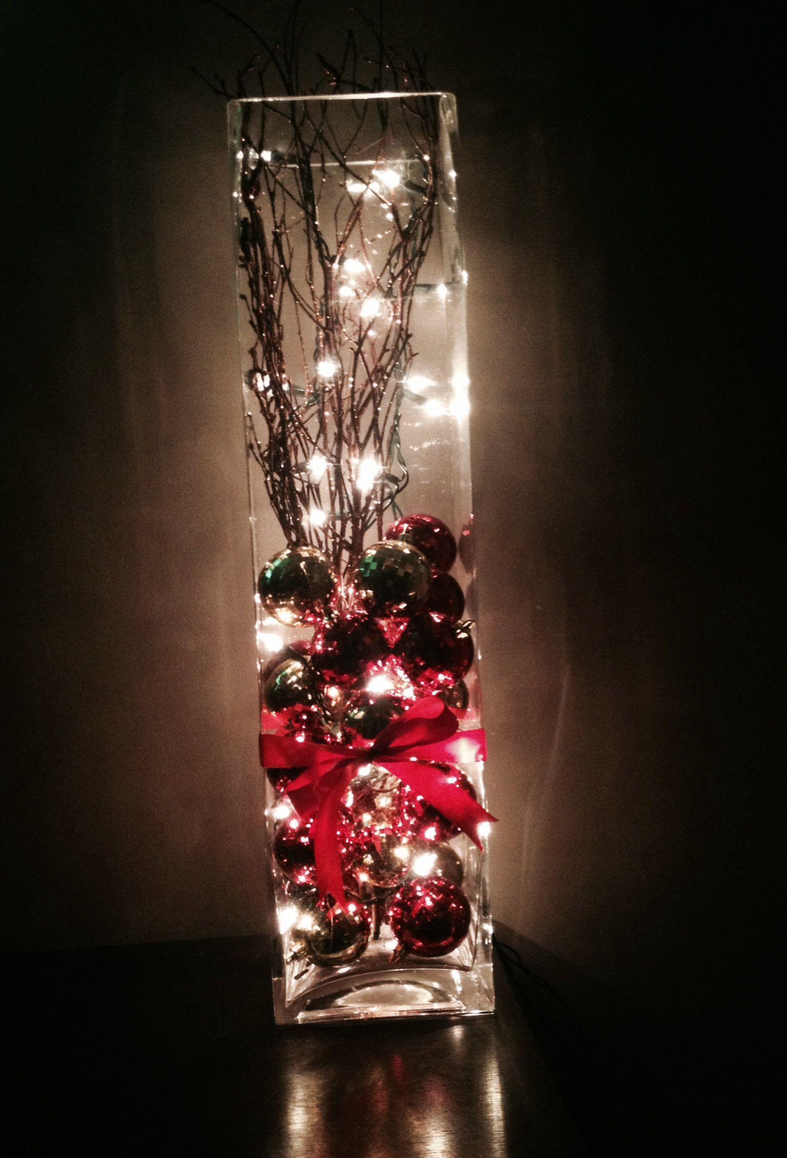 Homemade Christmas decor. Made with left over lights and