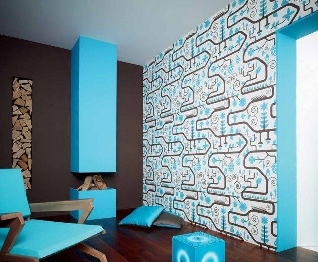 Cool wohnzimmer modern kamin hellblau wanddeko tapete ranita
