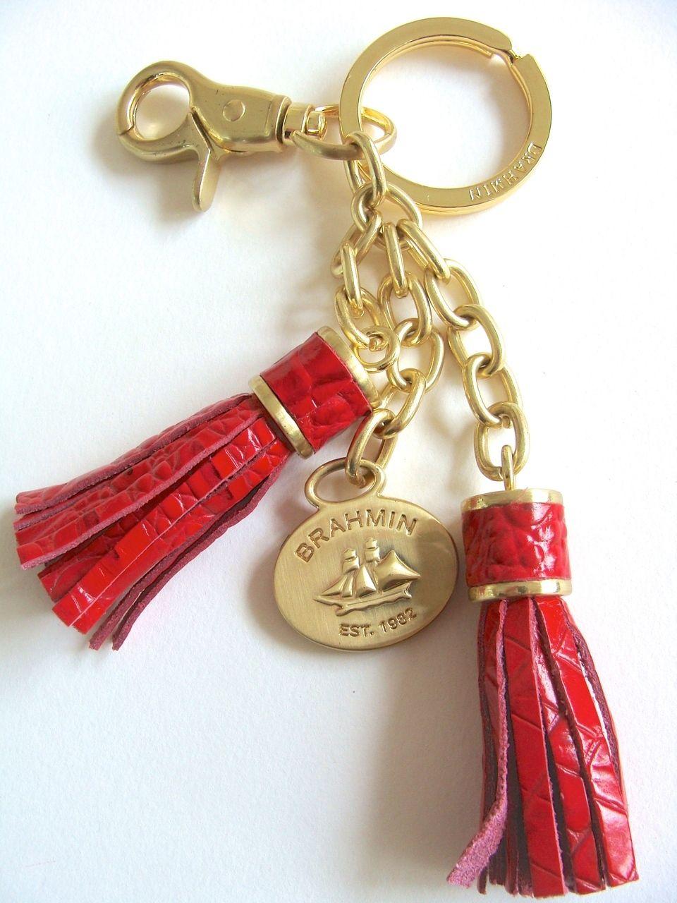 Brahmin Melbourne Double Tassel Keyfob Key Ring