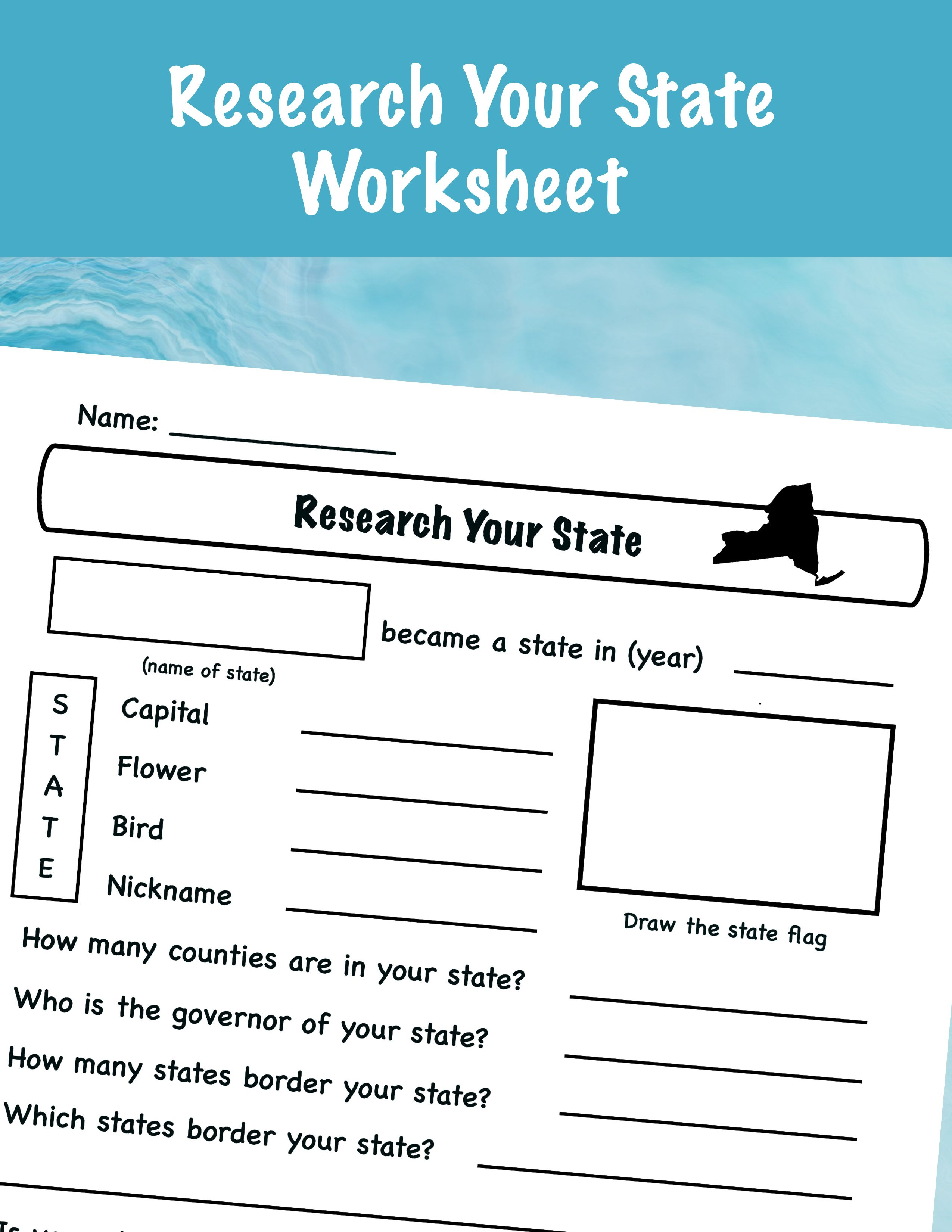 Research Your State Worksheet In