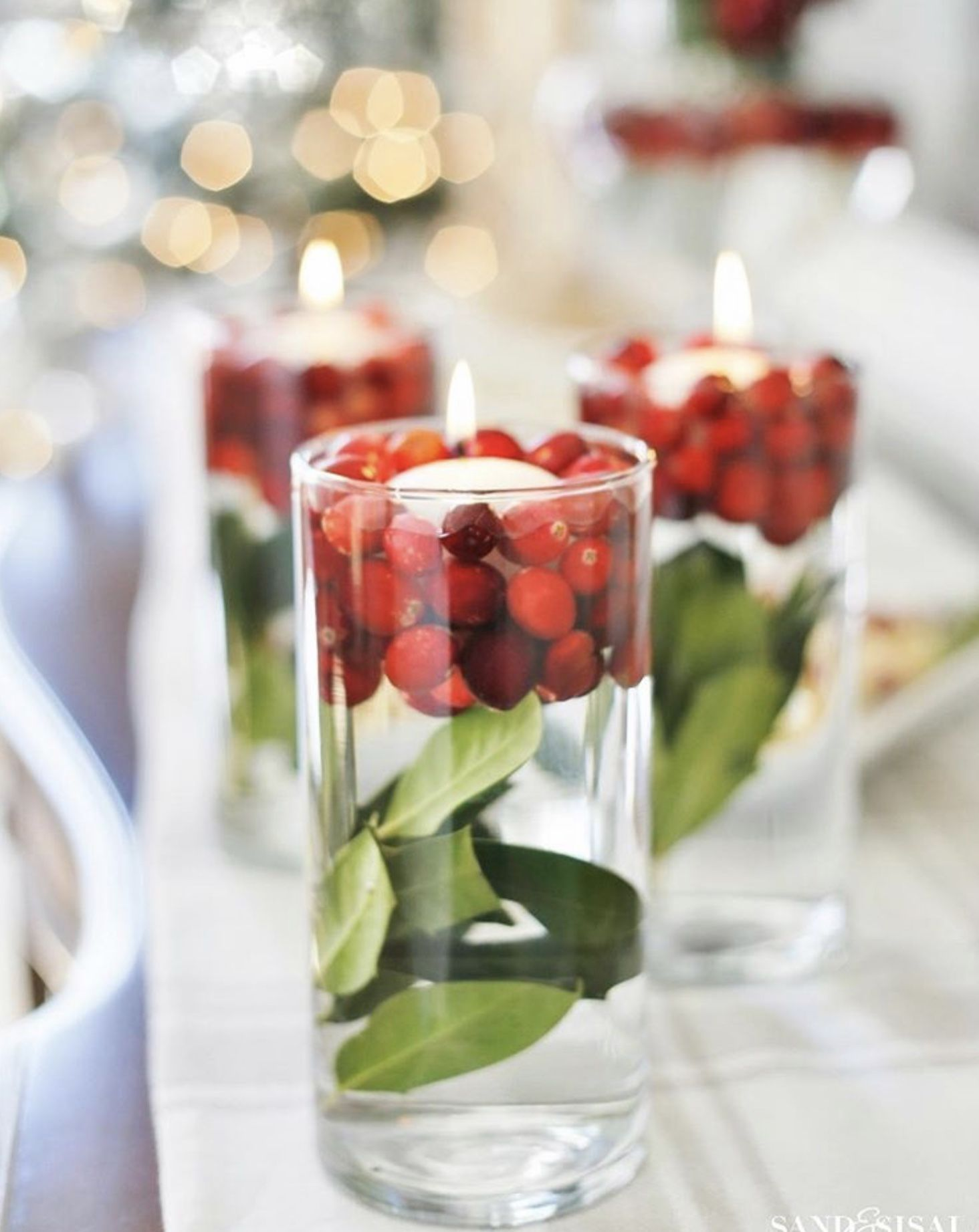 Crane Berries And Floating Candle In 2020 Christmas Table Decorations Christmas Cocktail Party Christmas Vases