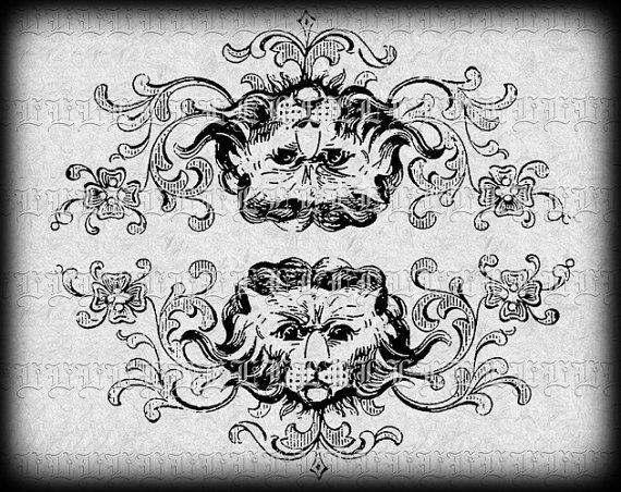 Historic Decorative Border Lion Detail By Luminariumgraphics