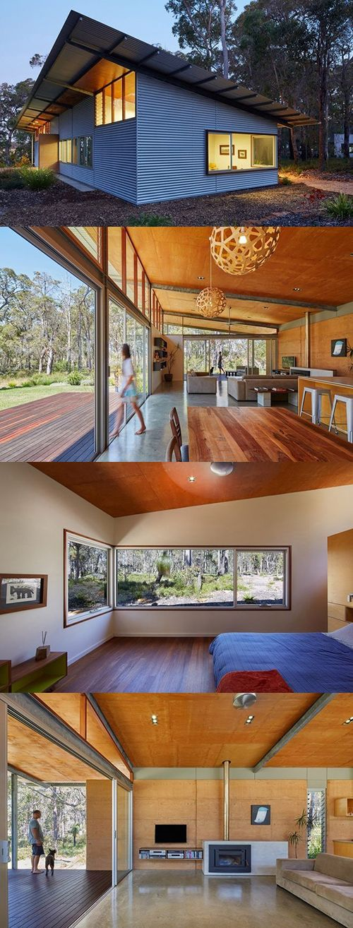 Cool Modern Simple Wooden House Designs To Be Inspired By: Cool Aussie Modern Cabin Ditches Logs For Corrugated Metal